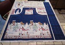 Vtg Daisy Kingdom Peppermint Hill Snowman  Apron Fabric & Oven Mitt Panel #2719