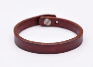 Mens Full Grain Plain Leather Wrap Bracelet Cuff Wristband Brown Stud Closure 8""