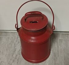 small milk can 12 in red, farmhouse decor , vintage