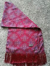 Vintage Retro Tootal Scarf Burgundy Paisley Fringed Mod Scooter