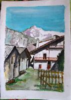 Acquerello '900 su carta Watercolor-Paesaggio di montagna con case - (122)