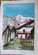 ✅Acquerello '900 su carta Watercolor-Paesaggio di montagna con case - (122)