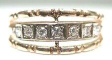 Antique Art Deco Vintage Diamond Wedding Band 14K Rose Gold Ring Sz 7.75 EGL USA