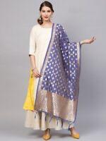 Violet Banarasi Art Silk Dupatta Floral Woven Indian Long Stole Wrap Shawl