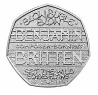 2013 50P COIN RARE BENJAMIN BRITTEN COMPOSER 100 YEARS ANNIVERSARY FIFTY PENCE £