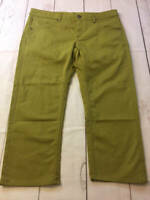 Womens Athleta Frontier Capri Crop Green Moss Stretch Denim Pants Jeans Size 14