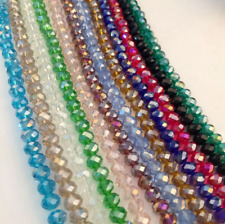 FACETED RONDELLE CRYSTAL GLASS AB BEADS LUSTRE DIY 4MM 6MM 8MM - PICK COLOUR