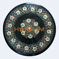"18"" Marble Coffee Table Top Mother of Pearl Floral Marquetry Inlay Decors B512"