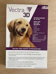 Vectra 3D for Large Dogs 56-95 lbs. Flea and Tick Treatment 6 Month. NEW unopen