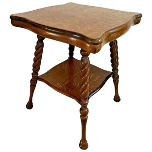 Antique Table Tiger Oak Thick top Barley Twist Leg Pub style bottom shelf