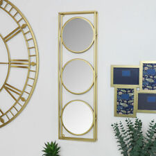 Gold Framed Round Triple Wall Mirror art deco modern contemporary wall decor