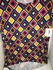 NWT Lularoe XS Irma Blouse Blue/Pink/Yellow Diamonds