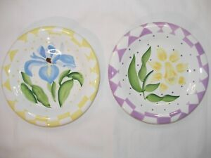 Set of Two Salad/Luncheon Plates with Pastel Flower Designs