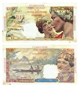 - Paper Reproduction -  Guadeloupe 1000 francs 1947-49    149