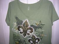 NEW WOMENS shirt  GREEN  fleur de lis size (S,M,L,) Bobbie Brooks T8