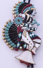 HUGE big Zuni, Native American Nickel silver, gem inlay dancing Kachina bolo tie