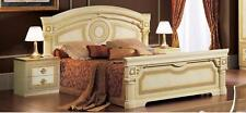 ESF Furniture Aida Ivory Gold Lacquer Finish Queen Bedroom Set 3Ps Made in Italy