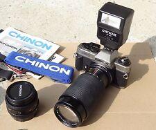 CHINON CM-7 Film 35mm Camera w/ 50mm Lens, Macro Zoom Lens, Flash, Strap, Manual