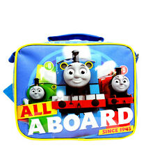 "Team Thomas the Train Engine "" ALL ABOARD"" Canvas Blue Insulated Lunch Bag"