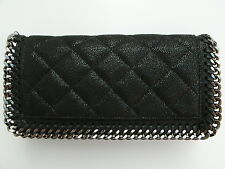 Stella McCartney Black Falabella Shaggy Deer Quilted Flap Wallet / Purse