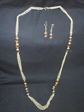 """Vintage 1972 Sarah Coventry Golden Lanterns 50"""" Necklace and Earrings Set #8523"""