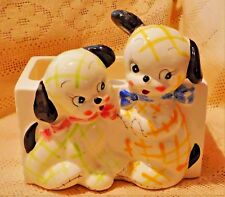 VINTAGE MID-20th CENTURY HAND PAINTED PORCELAIN PLAID PUPPIES PLANTER - JAPAN