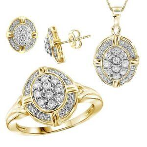 1.00ct Round White Natural Diamond Earring Pendant and Ring Set -IGI-
