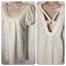 1217006 Voom by Joy Han Dress Small Ivory Knit Lace Puff Short Sleeve Lined S