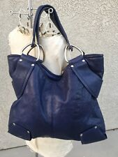 Kooba Large Blue Leather Hobo Hand Bag Purse Tote
