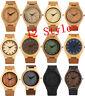 Luxury Men's Women's Bamboo Wood Watch Quartz Leather Band Wristwatches Fashion