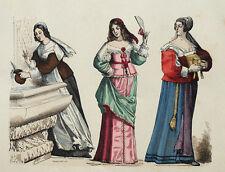 Costume Mode francaise Chambrière Bourgeoise Provence Gravure originale XIXème
