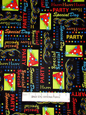 Birthday Party Hat Streamer Confetti Black Cotton Fabric QT 23546J Party On Yard
