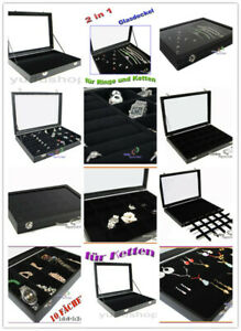 Schmucklade Schmuckkasten Schaukasten Juwelier Glasdeckel schwarz