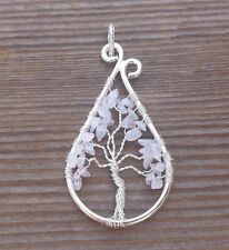 DROP/PEACOCK STYLE  ROSE QUARTZ TREE OF LIFE  WIRE WRAPPED PENDANT GEMSTONE