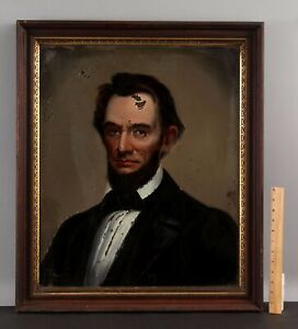 19thC WILLIAM MATTHEW PRIOR Folk Art Reverse Painting ABE ABRAHAM LINCOLN