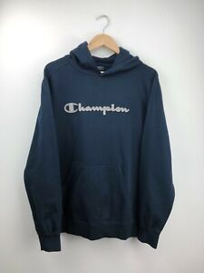 Vintage Champion Embroidered Navy Spell Out Hoodie Sweatshirt Size XXL Oversized