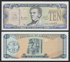 Liberia  10 Dollars  1999  Pick 22   SC = UNC