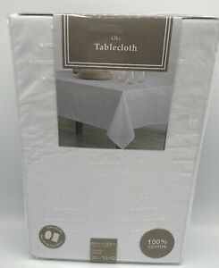 "Envogue White 60"" X 120"" Tablecloth Oki 100% Cotton Oblong Tablecloth New"