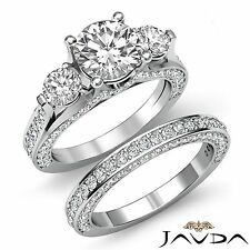 4ct Round Diamond 3 Stone Engagement Bridal Set Ring GIA F VVS2 14k White Gold