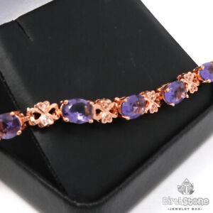 14Ct Purple Amethyst CZ Clover Bracelet Women Jewelry 14K Rose Gold Plated