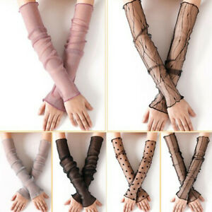 Women Mesh Lace Long Fingerless Gloves Breathable Sun UV Protection Arm Sleeves