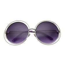 Women's Halo XXL Round Oversized Wire Sunglasses in Metal Silver Gradient Lens