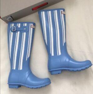 Hunter Original Tall Matte Rain boots Forget Me Not/white US Size 6, Euro 37