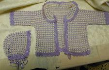 Cuffia e abitino da neonato lana bianca cotone lucido ciclamino (16) B8