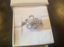 Pretty  Orphelia - Sterling Silver & CZ  Flower Ring - Size N - New in box
