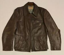 Vintage Lou Foster Brown Leather Motorcycle/Bomber Jacket