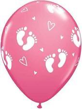 10 BABY SHOWER PINK FOOTPRINT BALLOONS LATEX GIRL FREE SHIPPING