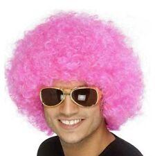 AÑOS 70 80 UNISEX Crazy Payaso FUNKY Peluca Afro Rosa Para Disfraz de Smiffys
