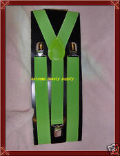 green cheerleader band dance stage kid lady girl woman clip on party suspenders