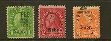UNITED STATES : 1929 Nebraska overprint 1c,2c,6c # 669,671,675 used